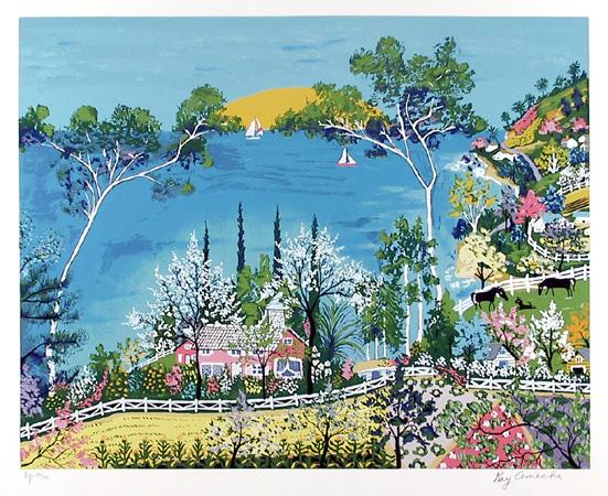 Kay Ameche Serigraph, Sunset, Folk Art
