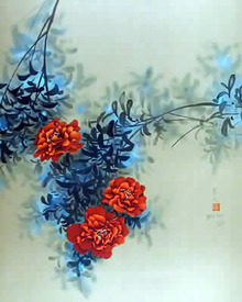 David Lee Signed Lithograph, Flowers