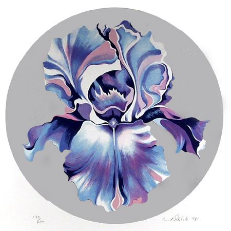 Lowell Nesbitt Signed Floral Serigraph, Iris