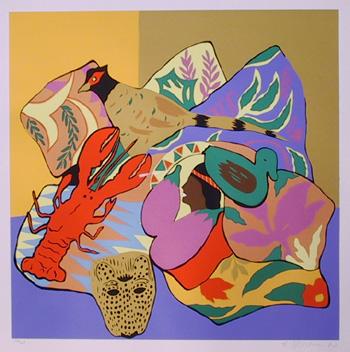 Hunt Slonem S/N Serigraph, Lobster
