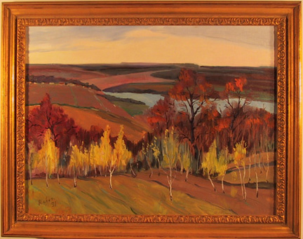 Rober, Framed Oil on Canvas Painting, Landscape