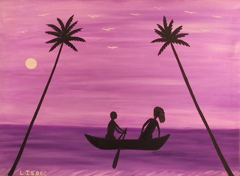 L. Isaac Oil on Canvas Painting, Island art