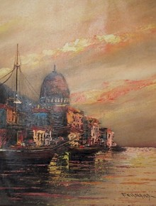 Fernand Oil on Canvas Painting, Spanish Port