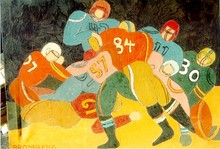 Miriam Bromberg, Football Oil Painting