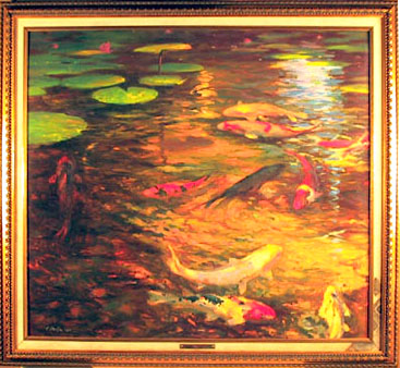 Raymond Vinella Framed Oil Painting, Japanese