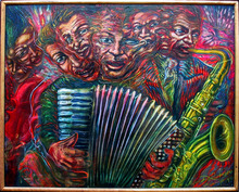 Alejandro Romero Oil on Canvas Painting, Jazz