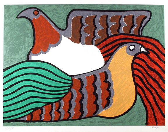 Victor Delfin S/N Serigraph Print, Hens