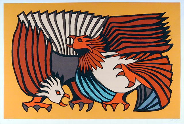 Victor Delfin Serigraph Fighting Cocks Peruvian