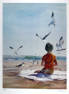 Uwe Werner S/N Print, Boy on Beach