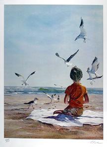 Uwe Werner S/N Print, Boy on Beach