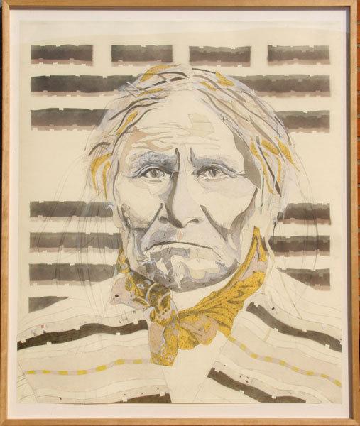 Tomas Lasansky Collage/Drawing of Geronimo