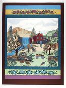 Jack Hofflander Serigraph, Barnyard, Folk Art