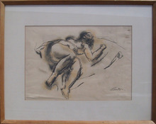 Jean Liberte Framed Charcoal Drawing Nude