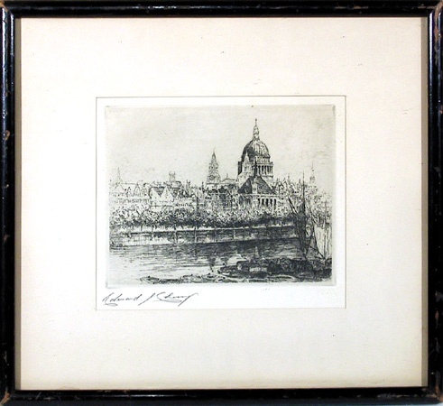 Edward Cherry Framed Etching, St. Paul from the