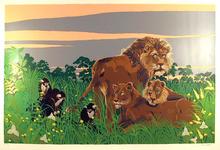 Russ Elliott  S/N Serigraph, Lions