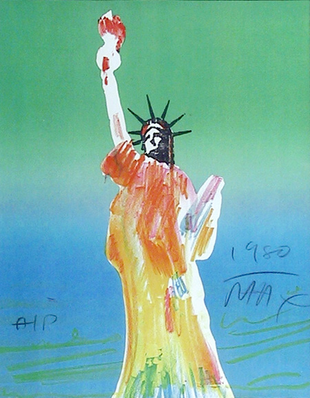 Peter Max Vintage Lithograph, Statue of Liberty