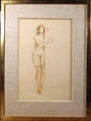 Raphael Soyer Ink Drawing on Paper, Nude