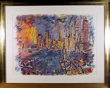 Wayne Ensrud, Manhattan From Brooklyn, Lithogra