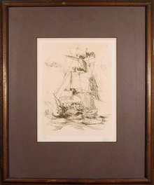 Wayland Moore S/N Etching, Ship, Framed