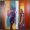 Benjamin Silva Acrylic Painting, Three Nudes on the Terrace