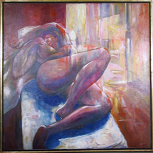 Benjamin Silva Acrylic Painting, Nude at Rest I