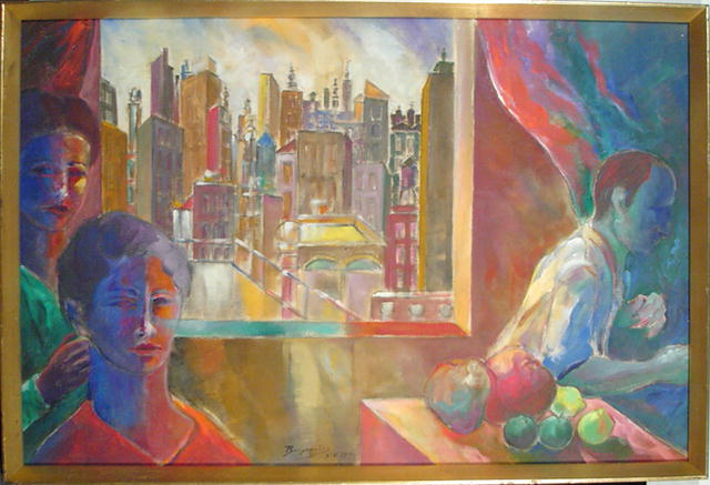 Benjamin Silva Brazilian Painting Three Figures