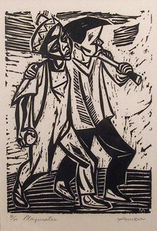 Irving Amen Black & White Woodcut, Playmates