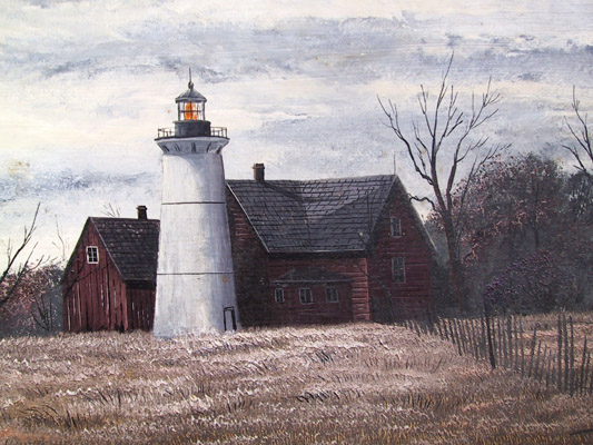 Thomas Kerry Framed Oil Painting, Lighthouse