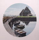 Helen Rundell Signed Lithograph, Boats, Dock