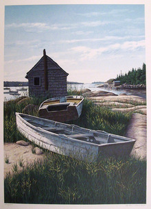Helen Rundell S/N Lithograph, Boats in Landscape
