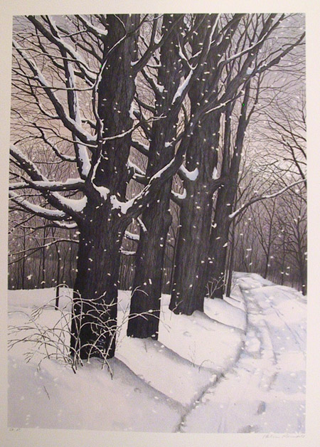 Helen Rundell S/N Lithograph, Snowy Trees