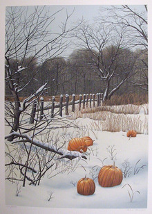 Helen Rundell S/N Lithograph, Pumpkins in Snow