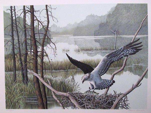 Helen Rundell S/N Lithograph, Bird, Landscape