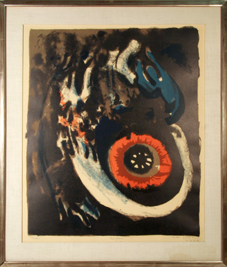 Hideo Yoshihara S/N Lithograph, Red Flower,