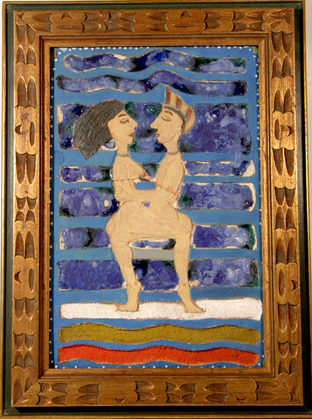 Toledo Etched & Painted Plaster,Egyptian Nudes Embrace