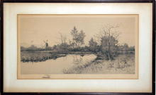 G.W. Bohde Signed 1893 Etching, Dutch Landscape