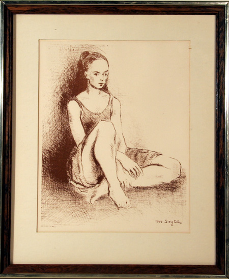 Moses Soyer Framed Lithograph, Ballet Dancer