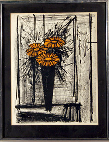 Bernard Buffet, Framed Lithograph, Flower