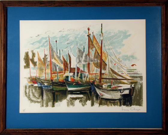 Simon Chaye S/N Lithograph, Sailboat