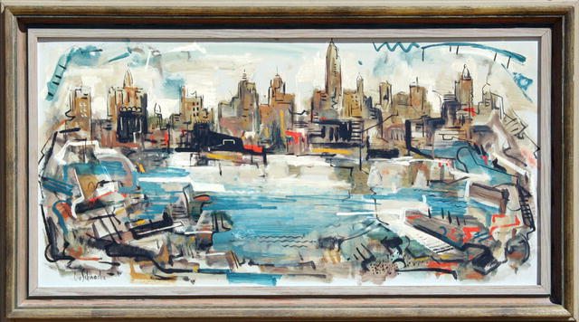 George Schwacha Oil Painting, NYC Skyline