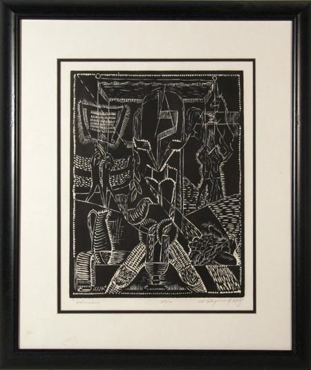 A. Raymond Katz Mishna, Woodcut Print, Women