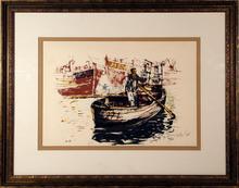 Moshe Gat S/N Framed Lithograph, Fisherman