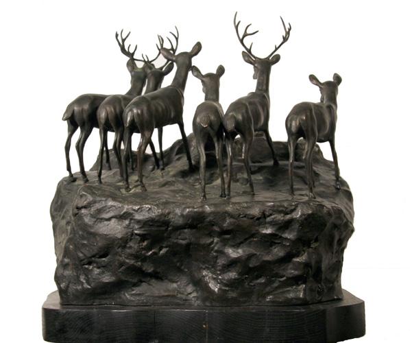 A. Ganso Bronze Sculpture, Lions and Deer