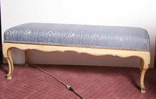 Bedside Bench Fruitwood Robin's Egg Blue Cushio