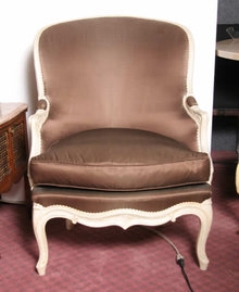 Pair of French Bergere Armchairs Brown Silk