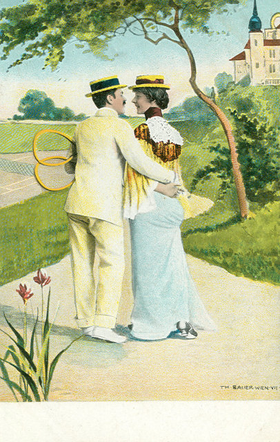 Set of 3 Postcards from the Early 1900's, Tennis, Couple