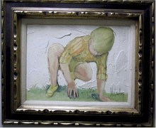 McCauley Framed Oil on Canvas Painting Kneeling