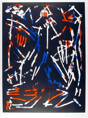 A.R. Penck, Signed Woodcut