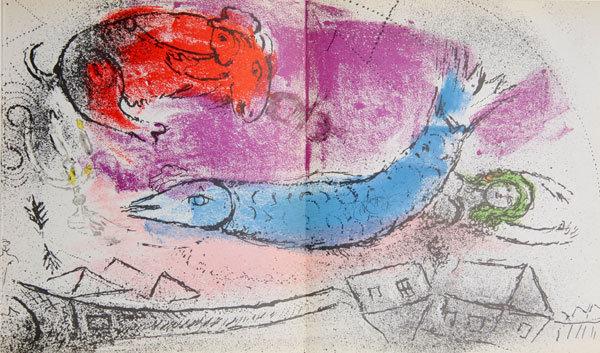 Marc Chagall, Le Poisson Bleu, Lithograph 1957