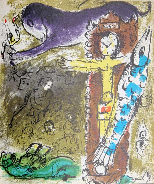 Marc Chagall, Le Christ l'Horloge, Lithograph 1957